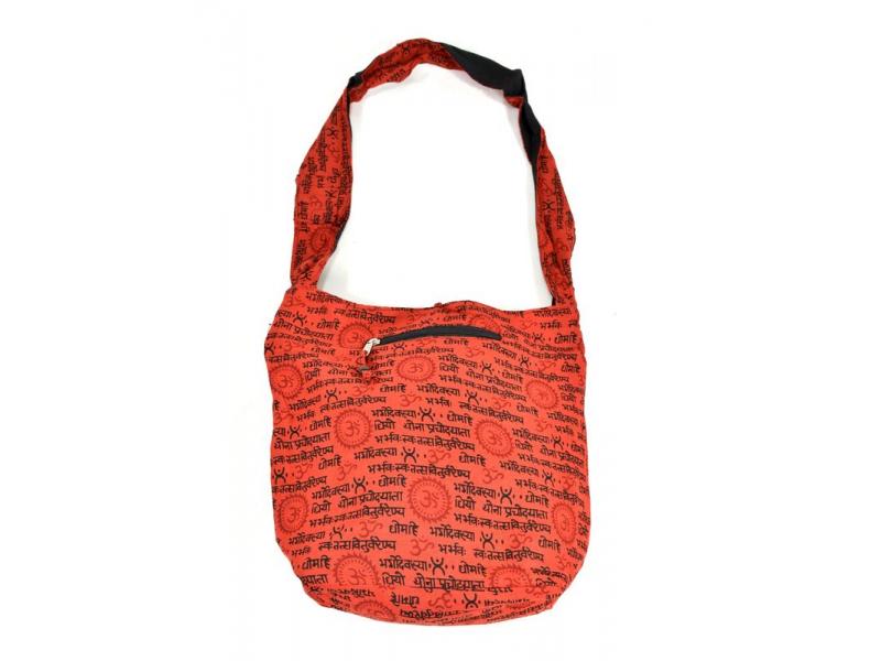 Červená taška přes rameno s potiskem mantry, kapsy, zip, 39x40cm