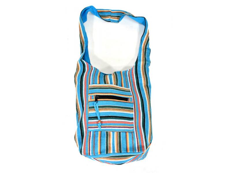 "Taška přes rameno, ""ghari barevné proužky"", kapsy, zip, 35x40cm"