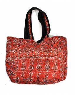 Bavlněná taška s potiskem, block print, kapsa, cca 30x38cm