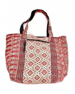 Velká bavlněná taška s potiskem, block print, kapsa, cca 38x48cm