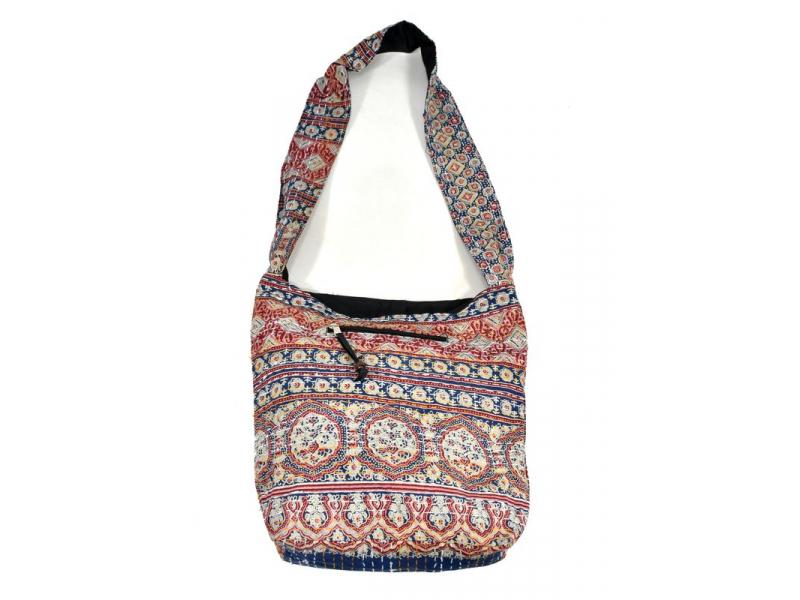 Bavlněná taška s potiskem, block print, kapsa, cca 36x38cm