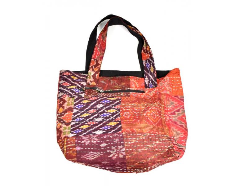 Velká bavlněná taška s potiskem, patchwork bavlna/satén, zip, cca 38x48cm