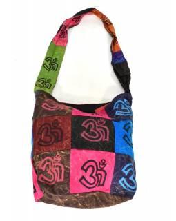 Multibarevná patchworková taška přes rameno s tiskem Óm, kapsa, zip, 38x38c