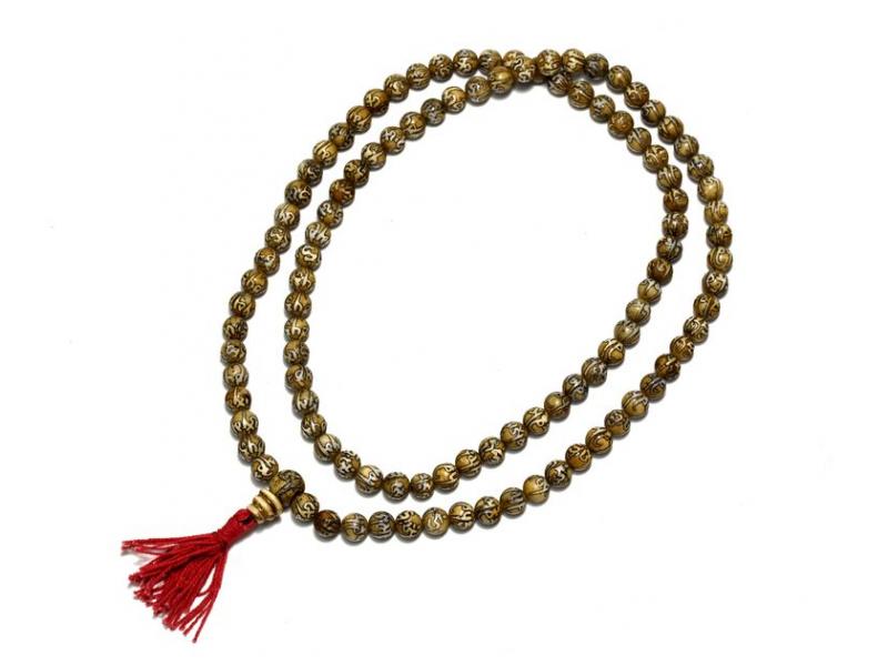 Modlitební korálky - mala, kostěná s mantrou, 8mm, 108 korálků, 43cm