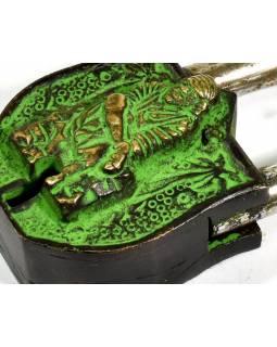 Visací zámek, zelená patina mosaz, Sai Baba, dva klíče ve tvaru dorje, 9cm