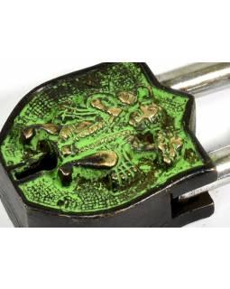 Visací zámek, Hanuman, zelená patina mosaz, dva klíče ve tvaru dorje, 9cm