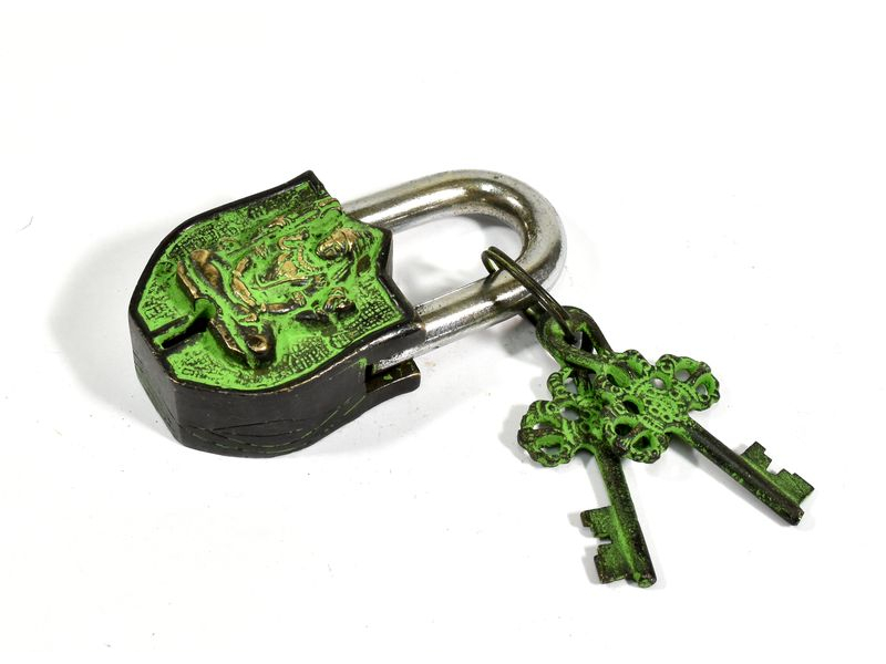 Visací zámek, Šiva, zelená patina mosaz, dva klíče ve tvaru dorje, 9cm