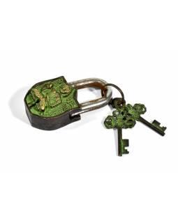 Visací zámek, Buddha, zelená patina mosaz, dva klíče ve tvaru dorje, 9cm