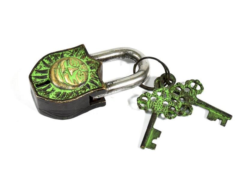 Visací zámek, Ganéša, zelená patina mosaz, dva klíče ve tvaru dorje, 9cm