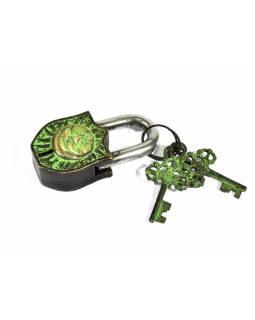 Visací zámek, Slunce, zelená patina mosaz, dva klíče ve tvaru dorje, 9cm