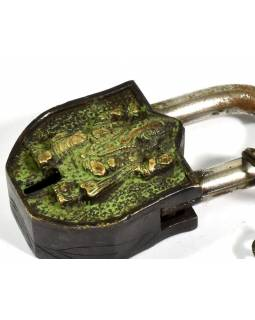 Visací zámek, Ganéš, zelená patina mosaz, dva klíče ve tvaru dorje, 9cm