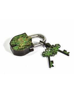 Visací zámek, Durga, zelená patina mosaz, dva klíče ve tvaru dorje, 9cm