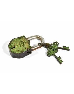 Visací zámek, Draci, zelená patina mosaz, dva klíče ve tvaru dorje, 9cm