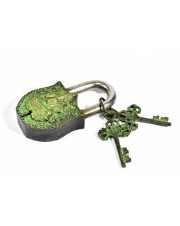 Visací zámek, Ganéša, zelená mosaz, dva klíče ve tvaru dorje, 11cm