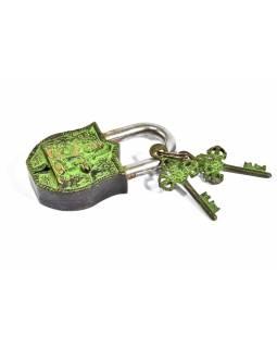 Visací zámek, Šiva, zelená mosaz, dva klíče ve tvaru dorje, 11cm