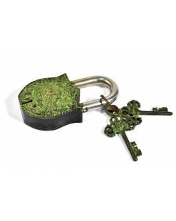 Visací zámek, Bhairab, zelená mosaz, dva klíče ve tvaru dorje, 11cm