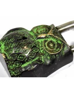 Visací zámek, Sova, zelená mosaz, dva klíče ve tvaru dorje, 12cm
