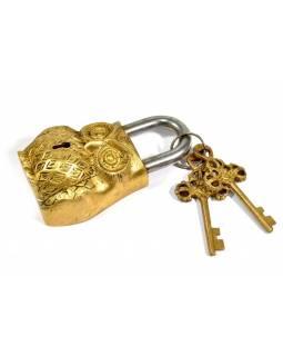 Visací zámek, Sova, zlatá mosaz, dva klíče ve tvaru dorje, 12cm