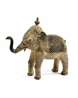 Kovová soška slona, tribal art, 18cm