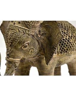 Kovová soška slona, tribal art, 20cm