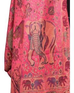 Velká šála s motivem slonů s třásněmi, růžová, 70x210cm