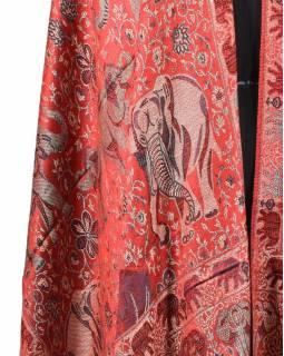 Velká šála s motivem slonů s třásněmi, červená, 70x210cm