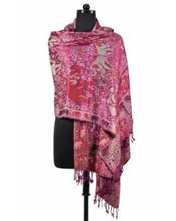 Velká šála s motivem slonů s třášněmi, fialová, 70x210cm
