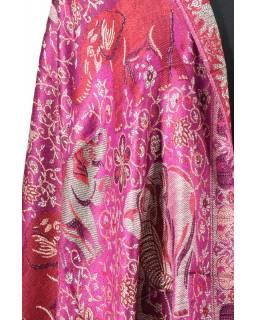 Velká šála s motivem slonů s třásněmi, fialová, 70x210cm