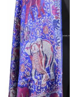 Velká šála s motivem slonů s třášněmi, modrá, 70x210cm