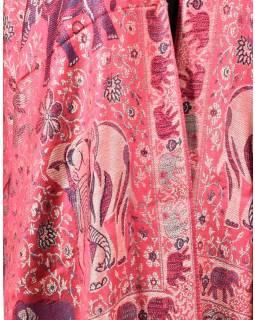 Velká šála s motivem slonů s třášněmi, starorůžová, 70x210cm