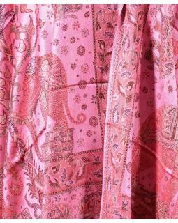 Velká šála s motivem slonů s třášněmi, růžová, 70x210cm