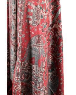 Velká šála s motivem slonů s třášněmi, vínová, 70x210cm