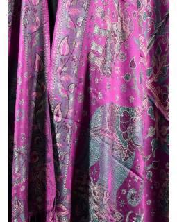 Velká šála s motivem slonů s třášněmi, tmavě růžová, 70x210cm