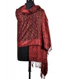 Velká šála s motivem paisley, s třásněmi, tmavá červená, 70x210cm