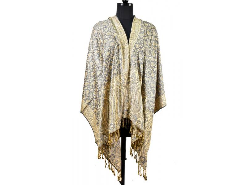 Velká šála s motivem paisley, s třásněmi, šedivá, 70x210cm