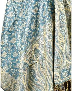 Velká šála s motivem paisley, s třášněmi, tyrkysová, 70x210cm
