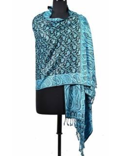 Velká šála s motivem paisley, s třášněmi, modrá, 70x210cm