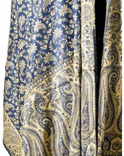 Velká šála s motivem paisley, s třášněmi, tmavě modrá, 70x210cm