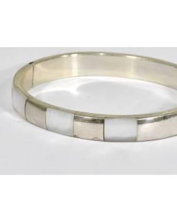 Masivní stříbrný náramek vykládaný, průměr 6,1cm, AG 925/1000, Nepál