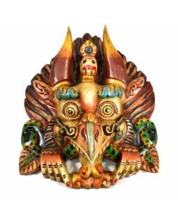 Dřevěná maska, Garuda, ručně malovaná, 26x33cm