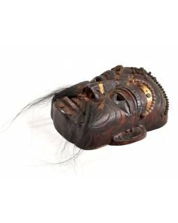 Tibetská dřevěná maska, ručně malovaná s kováním, 26x31cm