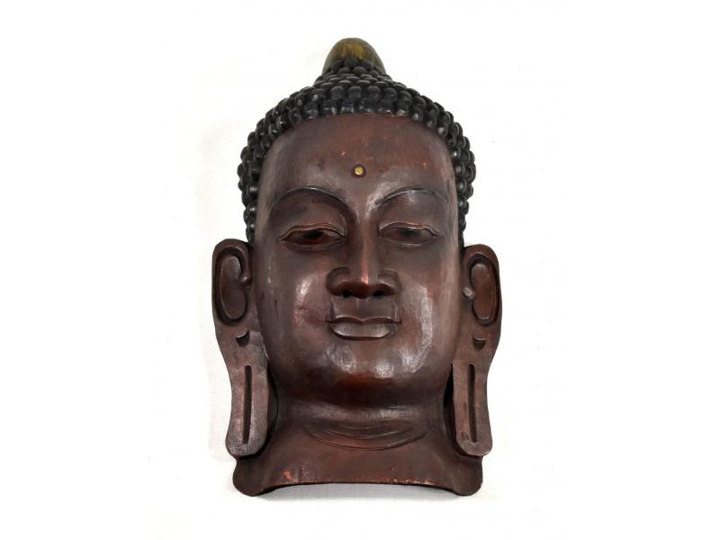 Dřevěná maska, Buddha, ručně malovaná, 20x34cm