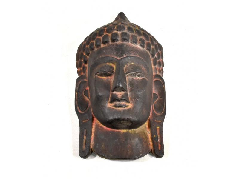 Dřevěná maska, Buddha, přírodní, 16x29cm