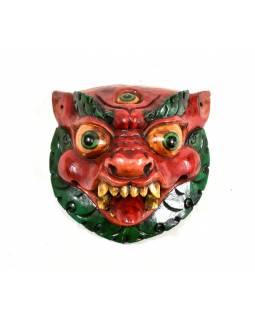 Dřevěná zvířecí maska, ručně malovaná, 17x17cm