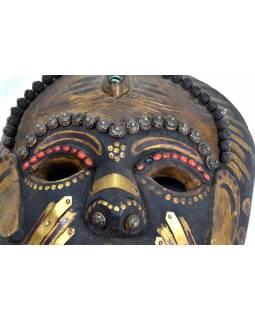 Tibetská dřevěná maska, ručně malovaná s kováním, 19x31cm