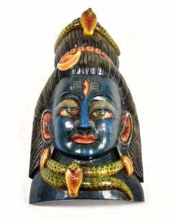 Dřevěná maska, Shiva, ručně malovaná, 18x35cm