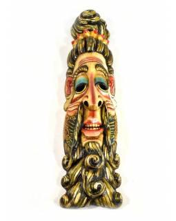 Dřevěná maska, Baba, ručně malovaná, 15x61cm