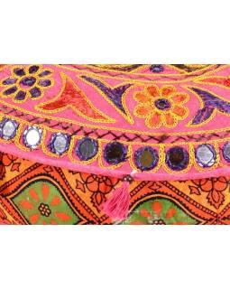 Meditační polštář, ručně vyšívaný Gujarat Design, kulatý, 40x12cm