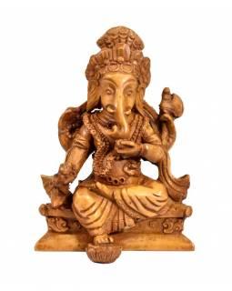 Ganesh sedící, světle hnědý, pryskyřice, 11cm