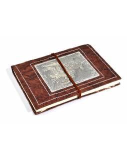 Notes vyrobený z ručního papíru, zdobený reliéfem slona, 13x18cm